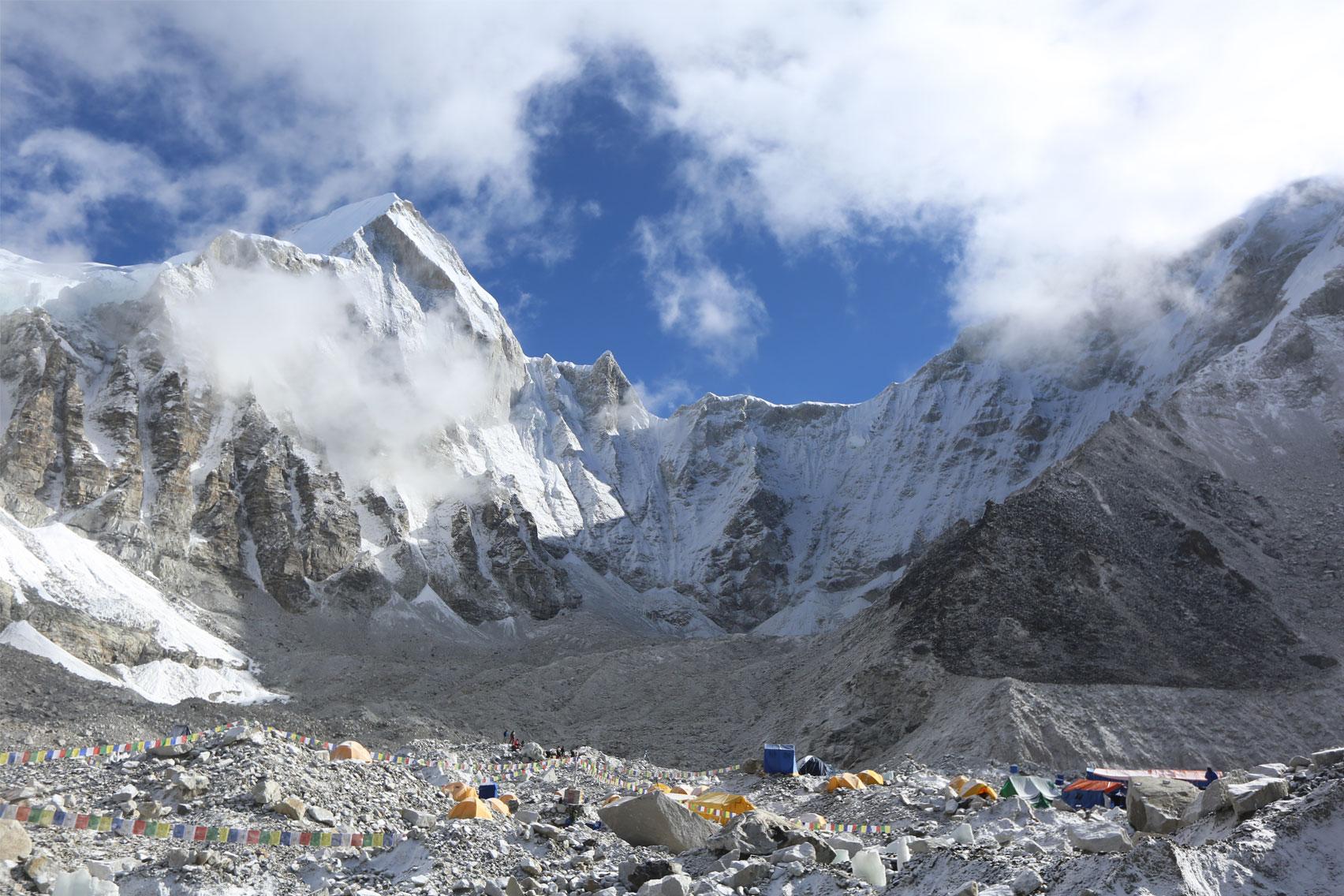 Day 10: Trek from Lobuche (4980m) to Everest Base Camp (5360m) and onto Gorakhshep (8hrs, 5164m)