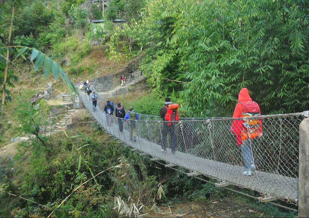 Day 12: Trek from Ulleri (1500m) to Nayapul (4 hrs, 1070m) and drive to Pokhara (1.5 hrs)